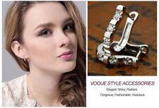 Ladies 925 Silver Plated Cubic Zirconia CZ U-Shape Hoop Earrings Jewellery Gift