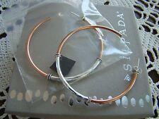 "Hoop"" Post Earrings P3354 New! Silpada Sterling Silver, Copper ""Global Glam"