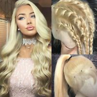 Deluxe Blonde Wigs 100% Virgin Indian Human Hair Lace Front Full Wig Free Part h