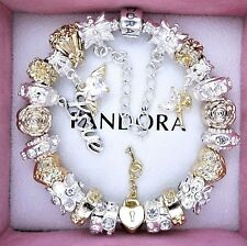 Authentic Pandora Silver Charm Bracelet with ANGEL LOVE Gold European Charms