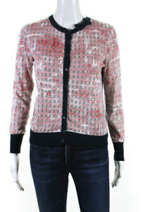 RED Valentino Womens Anchor Print Button Up Cardigan Red Blue White Size Small