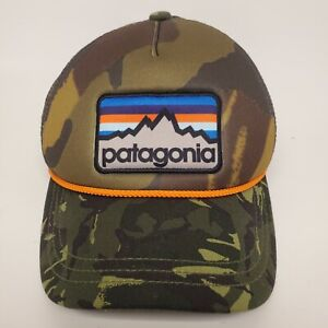 Rare Patagonia Camo Hat Mesh Snapback Logo Patch Orange Rope Trucker Hat Hunting