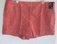 New York & Company Womens Cuffed Linen Shorts Siganture Fit Salmon Orange Sz 16