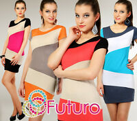Sexy Multicolor Women's Dress Bodycon Style Scoop Neck Tunic Size 8-12 8405