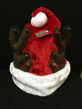 Santa Claus Hat with Pom Pom and Reindeer Antlers Christmas Santa Hats-NWt