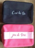 Lancome Cosmetic Bag Canvas Black/Pink GWP New ** Pick Color