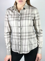 Authentic BURBERRY BRIT women's gray checkered nova check cotton shirt   Size M
