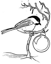 Unmounted Rubber Stamps, Bird Stamps, Christmas Stamps, Chickadee with Ornament