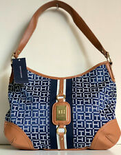 NEW! TOMMY HILFIGER SIGNATURE LOGO BLUE COGNAC BROWN HOBO PURSE BAG $85 SALE