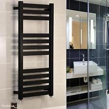 Designer Black Electric Towel Rail 600x1165mm Flat Tube