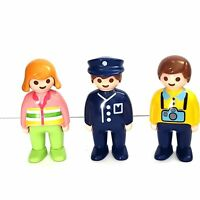 Playmobil Figure Lot 3 Vintage 1990 Figures Police Girl Boy