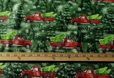 CHRISTMAS RED TRUCK DOG GLITTER PRINT 100% COTTON FABRIC BY THE 1/2 YARD