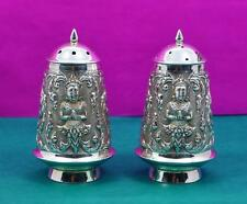 2 large Asian sterling silver salt & pepper shakers Buddha scene to sides 120 gr