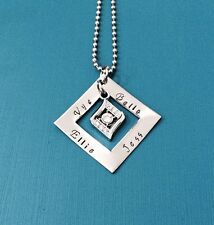 personalised hand stamped stainless steel square washer with rhinestone pendant