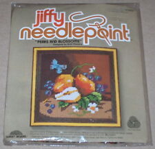 """1979 Sunset """"Pears & Blossoms"""" Flowers & Butterfly Needlepoint Kit NIP 5x5"""""""