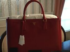 Prada Saffiano Lux Tote Fuoco-Red Large with Gold Hardware