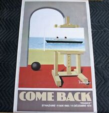 CGT FRENCH LINE SS FRANCE Come Back Poster 1982