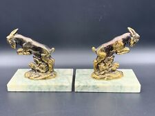 More details for vintage antique french goat bookends marble base book organizer décor 1930's