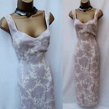 Karen Millen Vintage Ivory Pale Lilac Floral Print Long Maxi Day Dress 12 UK