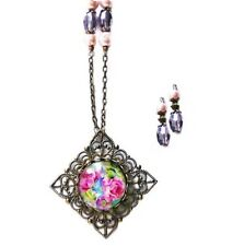 Necklace earrings set Rose Cameo Glass Pendant vintage style bronze pink purple