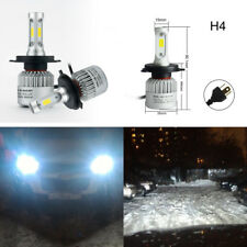 Pair Car H4 160W COB LED Headlight 6500K Xenon White Bulb Hi/Lo Beam Waterproof