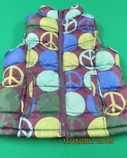 Old Navy Winter Outerwear Girls Puffer Vest Small S 6 7 Fleece Blue Green Peace
