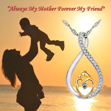 Mother's Gifts 925 Sterling Silver Mom and Child Pendant Necklace with Gift Bag