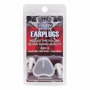 NEW Crossfire Deluxe Musicians Earplugs Size Medium (White)
