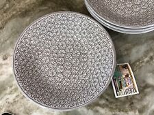 Portugal Terracota Gray Abstract Pasta Bowls. Set Of 4. Pretty 8.5 x 2 Inch. New