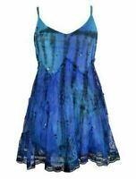 Gothic Faerie Pixie Blue Lace Embroidered Tie dye Long Tunic Top Mini Dress S/M