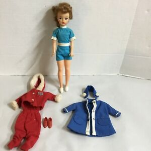 VINTAGE Ideal Tammy Doll BS-12 2 for Repair W/outfits Light Brown Hair