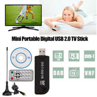 USB 2.0 DVB-T SDR+DAB+FM Dongle Digital TV Tuner RTL2832U+R820T Stick Receiver