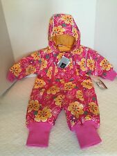 Hanna Andersson Pink Floral Snowsuit Sz 70 Winter Snow 6-12 Hooded Journeys End