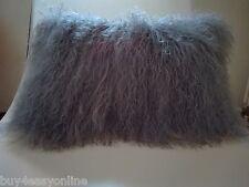 "Handmade Mongolian Fur 12""x20"" Rectangle Gray Pillow Cushion Case & back Fabric"