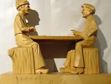 Collectible Rare Lionel Dube Quebec Woodcarving Canada Men Playing Checkers