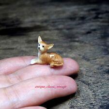 Dollhouse Miniature Chihuahua Dog Ceramic Tiny Figurine Sculpture Hand Painted