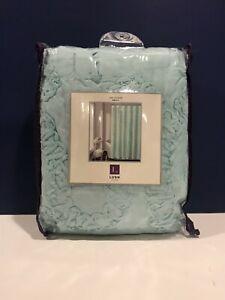 "Lush Decor Keila Shower Curtain w/ Ruffles - Blue - Size: 72""x72"" Polyester NEW"