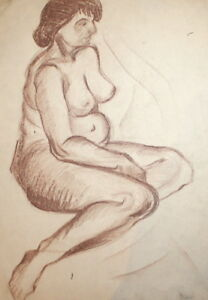 ANTIQUE PASTEL DRAWING NUDE WOMAN