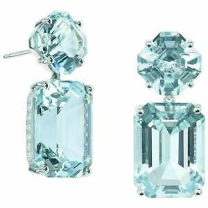 Transparent Asscher & Emerald Cut 21.00CT Aquamarine With White CZ Fine Earrings