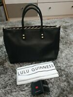 LULU GUINNESS Black Leather Large Medium Frances Tote Shoulder Hand Bag