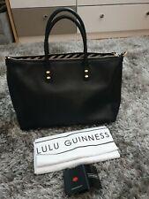 LULU GUINNESS Black Leather Large Medium Frances Tote Shoulder Hand Bag. New.