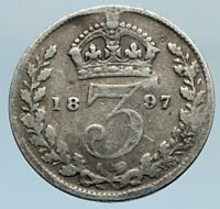 1897 UK Great Britain United Kingdom QUEEN VICTORIA 3 Pence Silver Coin i74317