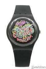 New Swatch Gent WILD FACE Matte Black Silicone Watch 41mm SUOZ167 $100