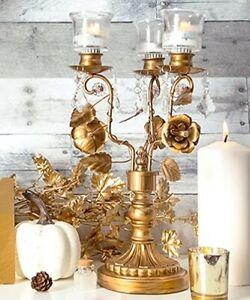 Amalfi Décor Antique Gold Metal Floral 3 Light Candelabra Centerpiece