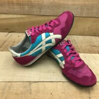 Onitsuka Tiger Womens Serrano Running Shoes Pink Blue D159L Low Top Leather 7.5