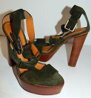 Ralph Lauren Sherise Deep Green Suede Leather Platform Heels 36 5.5 B $695rt