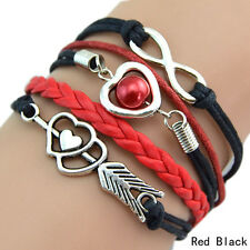 Infinity Love Heart Pearl Friendship Antique Silver Leather Charm Bracelet Hot N Red Black