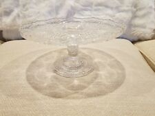 """Vintage Pressed Glass Cake Plate Stand ~ Scalloped edge ~ 9"""" dia. x 4.75"""" tall"""