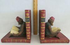 Vintage Figural Monkey Bookends Reading Wonderful Heavy