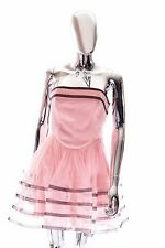 Betsey Johnson Blush Pink Striped & Lined TuTu Dress Womens Size 4